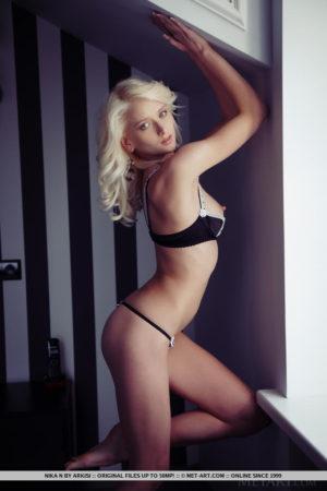 Lovely blonde nymph Nika N seducing you in her crotchless panties
